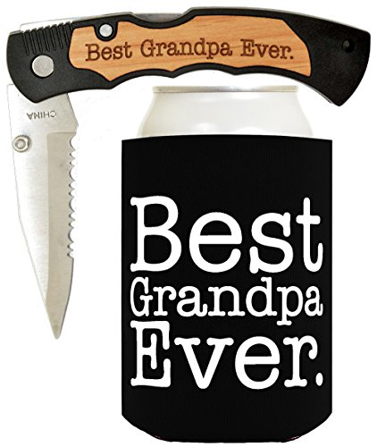 Father's Day Gift for Dad Knife Gift for Grandpa Gift for Papa Best Ever Best Buckin' Laser Engraved Folding Pocket Knife with Funny Beer Coolie Gift Set Best Grandpa Ever