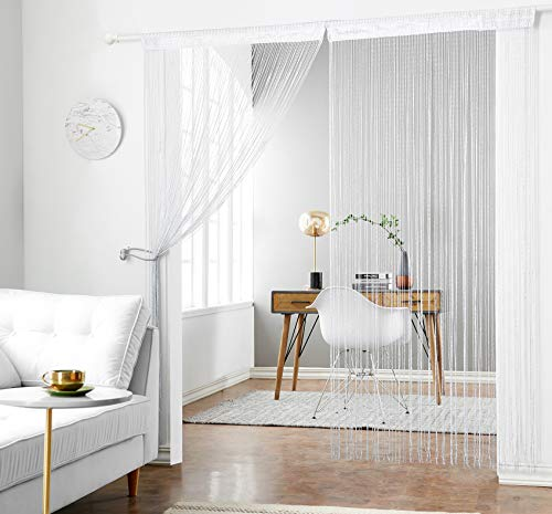 HSYLYM 1x2M Door String Curtains Flat Silver Ribbon Window Blinds Pannel Room Divider for Party Wedding Coffee House (Pannels Window)