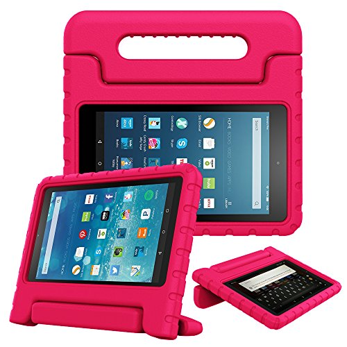 Fintie Case for All-New Fire HD 8 Tablet (7th and 8th Generation Tablets, 2017 and 2018 Releases) - [Kids Friendly] Shock Proof Light Weight Convertible Handle Stand Protective Cover, Magenta