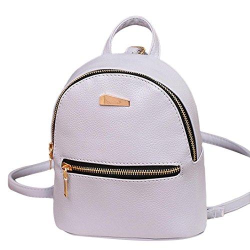 Pausseo Women Leather Backpack School Rucksack College Shoulder Satchel Travel Bag Student Backpack Shopping Travel Beach Packages Cosmetic Bag Makeup Case Portable Handbag Zipper Bag (Gray)