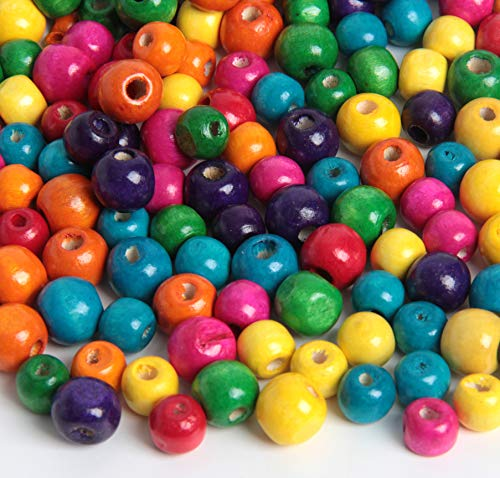 SBYURE 500 Pcs Assorted Color Round Wood Beads,Painted Large Hole Round Wooden Spacer Beads for DIY Project,2 Sizes, 10mm and 12mm (Craft Assorted Wood)