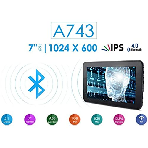 Azpen A743 7 8GB Quad Core Android 5.1 Lollipop Tablet with HD LCD IPS Display 1GB RAM Bluetooth Coupons