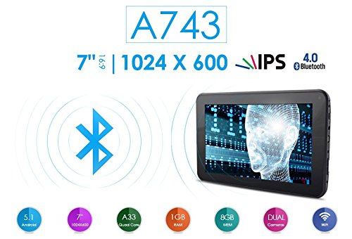 Azpen A743 7'' 8GB Quad Core Android 5.1 Lollipop Tablet with HD LCD IPS Display 1GB RAM Bluetooth by Azpen