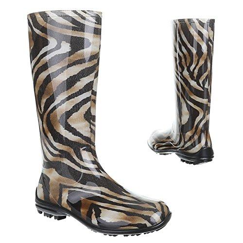 Ital-Design Damen Schuhe, GST-F100P, Regenstiefel Gummistiefel Braun Schwarz 8