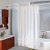 Bathroom Accessories Unique Style Solid White Color Ruffles Edges Bathroom Shower Curtain 180cm X 180cm