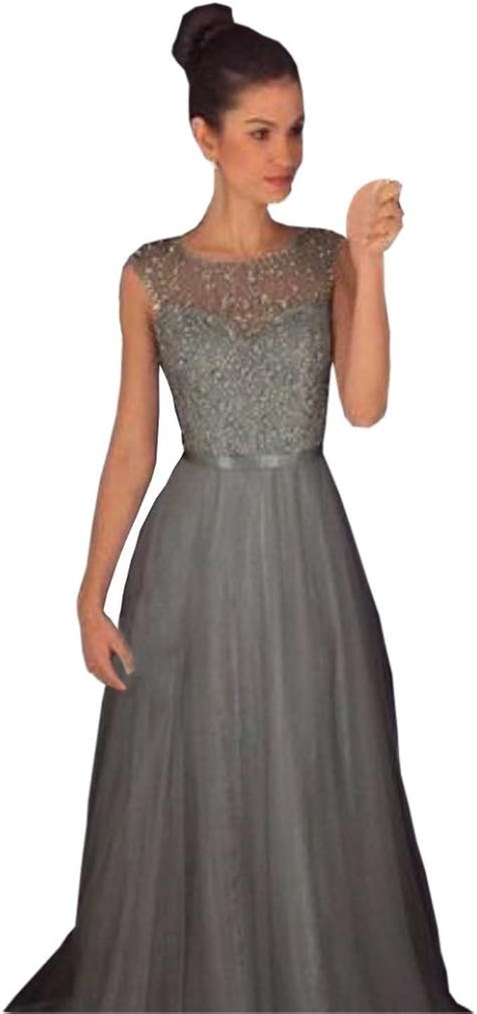 manadlian Damen Kleid Elegant Festlich Lang, Grau Frauen Kleider