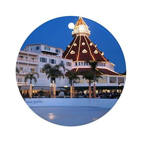 (hiusan Novelty Decoration Hotel Del Coronado Holiday Christmas Ornaments Ceramic Round Christmas Tree Hanging Keepsake 3 Inches)