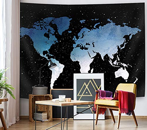 Supermee Blue World Map Tapestry Wall Hanging Starry Map Galaxy Wall Blanket for Kids Children Bedroom Living Room Dorm Decor, 79X59 Inch
