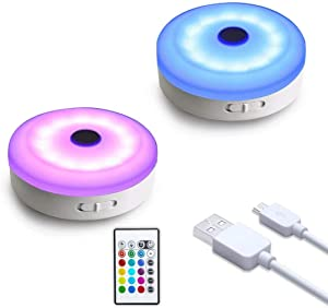 wobsion Puck Lights with Remote, Color Changing Under Cabinet Led Lighting, Wireless Closet Light, USB Rechargeable Puck Lights for Counter,Closet,Display Case,Perfect for Home Dec,2 Pack