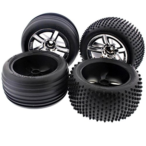 Traxxas Nitro Rustler 2.5 * FRONT & REAR ALIAS TIRES & SPOKE CHROME WHEELS * 12m (Tires Traxxas Alias)