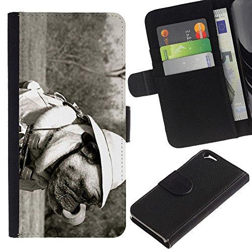 EuroCase - Apple Iphone 6 4.7 - Funny Safari Pug Dog - Cuir PU Coverture Shell Armure Coque Coq Cas Etui Housse Case Cover