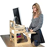 Wallniture Updesk Wood Height Adjustable Monitor Stand Riser, Desk Organizer with Keyboard Storage and Phone Slot Natural