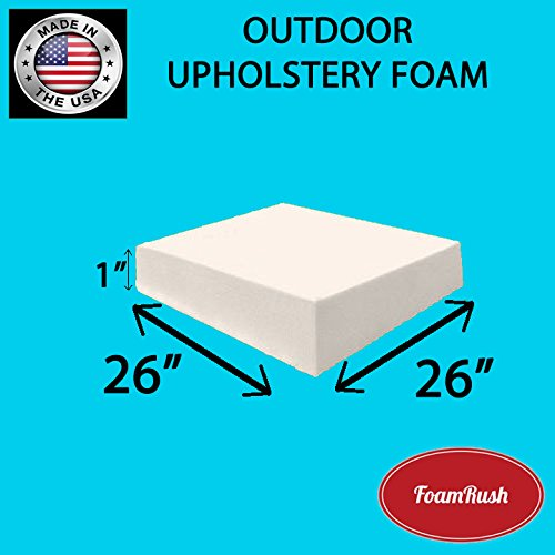 FoamRush Premium Quality Dryfast OUTDOOR Anti-Mildew Upholstery Foam Sheet for Outdoor & Marine Furniture (Chair Cushion Foam for Patio Furniture, Wheelchair Seat Cushion Replacement)(1