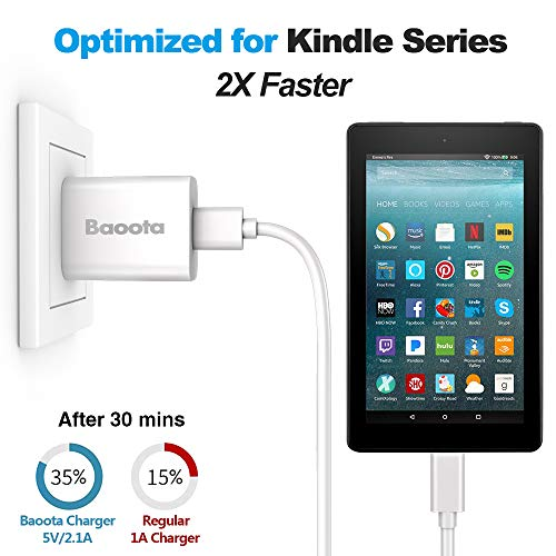 """Kindle Fire Charger,10W Fast Rapid Charger Adapter with 6.6FT Charging Cable Cord Compatible with Kindle Fire 7 HD 8 10 Tablet, Kids Edition,Kindle Fire HD HDX 7"""" 8.9"""", Fire Phone,Fire Stick (White)"""