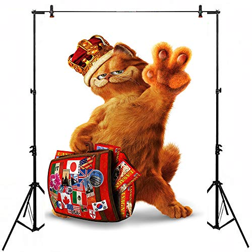 White Background Vinyl 5x7ft Garfield Birthday Banner Red Baggage Photo Backdrop for Happy Birthday Party Customized Baby Shower Photocall Props]()
