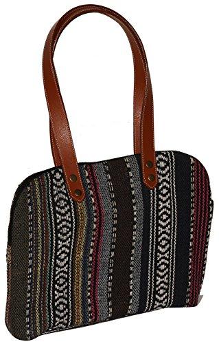 Canvas Baguette Handbag (BIG SALE - Canvas Tote Bag / Shoulder Handbags for Women - SouvNear Handmade Baguette Handbag in Twin Handles & Zipper - Perfect Gifts for Women / Girls)