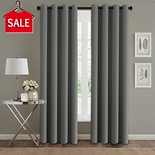 H.Versailtex Three Pass Microfiber Blackout Thermal Insulated Grommet Panel Window Curtains / Drapes (Set of 2 Panels, 52 x 96 Inch, Grey) (Window Drapes Curtains)