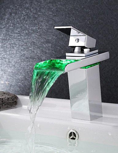 New Moderne LED RGB Wasserfall verchromtem Hebel keine Batterie Mixer Wasserhahn Armaturen