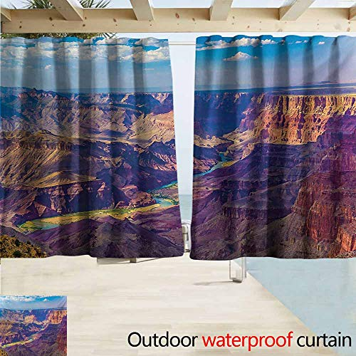 (AndyTours Outdoor Waterproof Curtains,Canyon Aerial View of Epic Grand Canyon Activity of River Stream Over Rock Plateau Print,Rod Pocket Energy Efficient Thermal Insulated,W55x45L Inches,Blue)