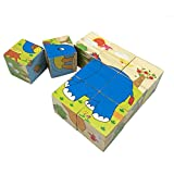 Rolimate Forest Animals Wooden Cube Block Jigsaw Puzzles , Good Toys for 1 2 3 Year Old Toddlers Kids(boys or Girls) by Rolimate