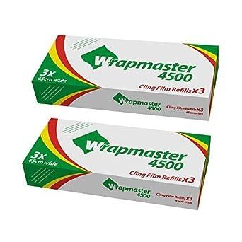 """Kleen WRAPMASTER Dispensador 4500 18"""" más x 6 Rollos de film transparente 45cm x 300m"""