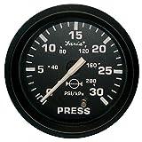 1 - Faria Euro Black 2'' Water Pressure Gauge Kit - 30 PSI