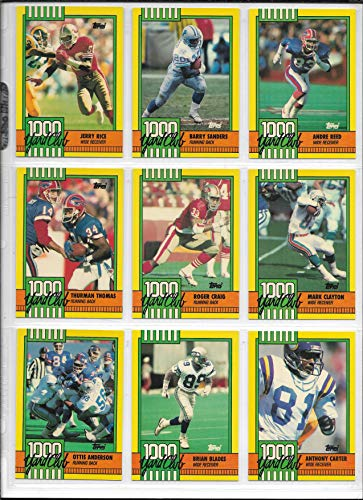 1990 Topps Football Complete 1000 Yard Club Insert Set Of 30 Cards (1000 Yard Club Football Card)
