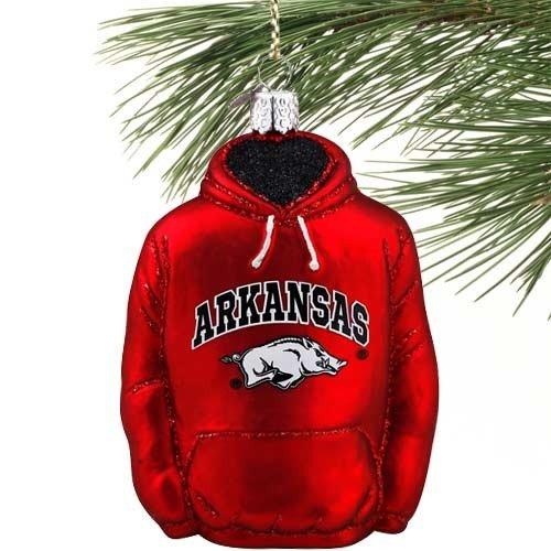 - Old World Christmas University of Arkansas Razorbacks Hoodie Glass Ornament