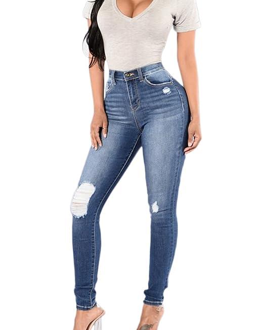 Mujer Jeans Boyfriend con Un Gran Agujero Rodilla Rasgados ...