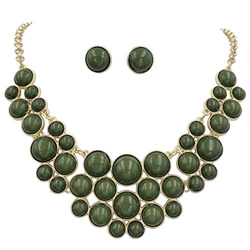 - Gypsy Jewels Bubble Dot Cluster Chunky Big Bold Statement Unique Funky Large Necklace & Earrings Set (Olive Green)