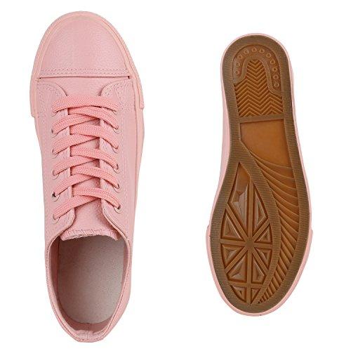 Damen Sneakers Sportschuhe Sneaker Low Denim Stoffschuhe Blumen Camouflage Flandell Rosa Glatt