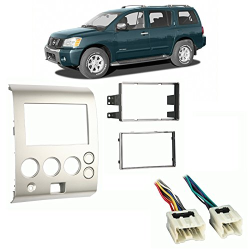 Fits Nissan Pathfinder Armada 2004-2005 Double DIN Harness Radio Dash Kit ()