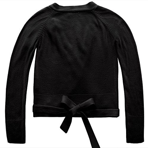 's Classic Long Sleeve Knit Wrap Top Ballet Dance Cardigan (130(Age for 6-7Y), Black) (Ballet Long Sleeve Sweater)