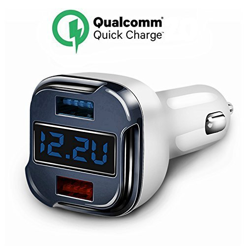 Quick Charge 2.0 Car Charger, Dual USB Car Charger, 5V 2.4A Fast Car Charger Adapter With Voltage Display Current Tester for IPhone X,8,7,7 Plus,6 Plus,Ipad Nexus LG HTC SONY Samsung Galaxy Note