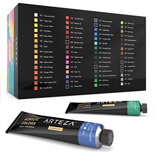 ARTEZA Acrylic Paint, Set of 60 Colors/Tubes (22 ml, 0.74 oz.) with Storage Box, Rich Pigments, Non Fading, Non Toxic Paints for Artist, Hobby Painters & Kids, Ideal for Canvas Painting