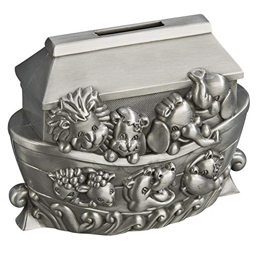 Pewter Tractor Bank - Creative Gifts NOAHS ARK BANK, PEWTER FINISH