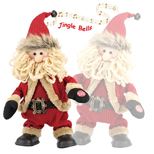 Final Clearance! Animated Christmas Singing and Dancing Santa Claus for Parties, Jolly Santa Plush, Electric Toys with Battery Powered for Christmas Gifts or Birthday Presents, Tall 11.8 inch