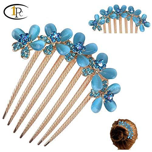 (FINGER LOVE France Luxury Pearl Rhinestone Floral Handmade French Twist Comb (Blue))