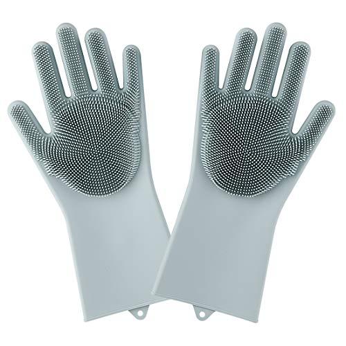 Magic Saksak Silicone Gloves Dishwashing Cleaning Brush Scrubber, Reusable Brush Silicone Scrubber...