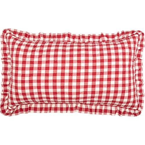 VHC Brands Farmhouse Bedding Annie Cotton Buffalo Check King Sham, Red Country