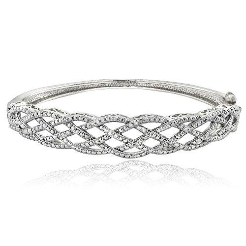 1/4 Ct Diamond Weave Bangle Bracelet by Jawa Fashion