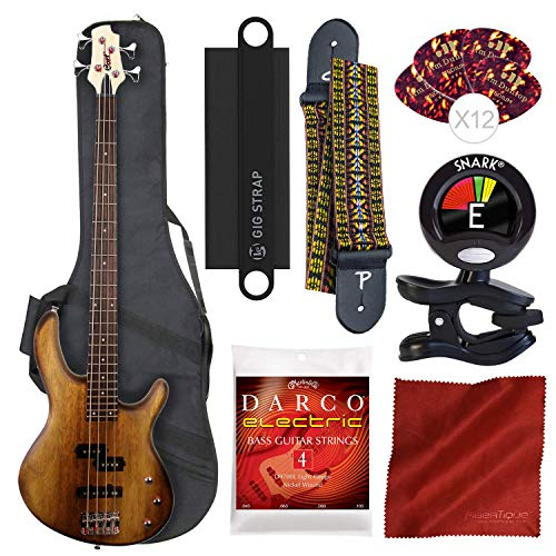 Cort Action PJ Series 4-String Electric Bass, Open Pore Walnut with Gig Bag, Guitar Strap, Massaging Shoulder Strap Attachment and Deluxe Bundle