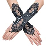 Bridal Gloves Fingerless Lace Glove for Wedding Long Accessories Cheap Black