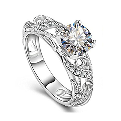 Hot Sale! Women JSPOYOU Luxurious Micro Inlaid Ring Diamond Ring With Four Claw Elegant Cut Diamond Ring (Silver6) from JSPOYOU