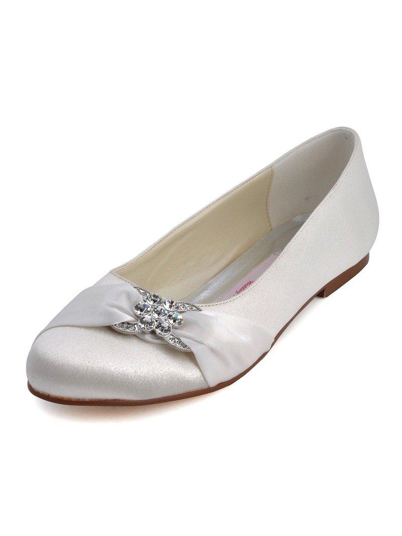 ElegantPark EP2006 Women Closed Rhinestones Comfort Flats Pleated Satin Wedding Bridal Shoes Ivory US 9