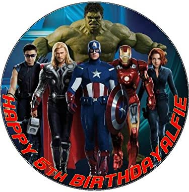 Super 7 5 Avengers Edible Icing Birthday Cake Topper Superhero Amazon Personalised Birthday Cards Xaembasilily Jamesorg