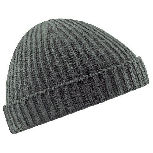 Beechfield Unisex Retro Trawler Winter Beanie Hat (One Size) (Smoke Grey)