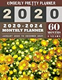 5 year monthly planner 2020-2024: 2020-2024 Monthly Planner Calendar | internet login and password | 5 Year Goal Planner | Five Year Life Goal Plan | yellow floral design