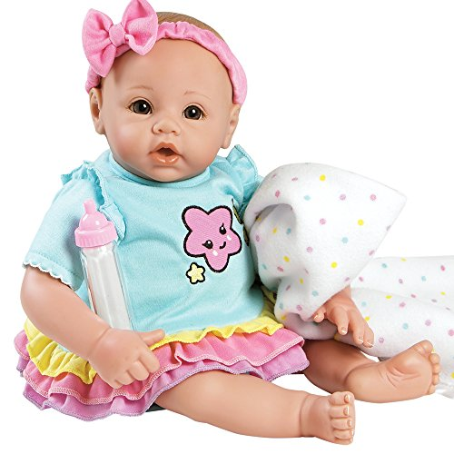 - Adora BabyTime Rainbow Weighted Girl Vinyl Baby Doll with Soft Body, Play Toy Gift Set Ensemble Includes Bottle and Blanket, 16-inch (Ages 3+)