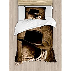 4 Pieces Bedding Sets for Boy Full Size Western Duvet Cover Set, Wild West Themed Cowboy Hat and Old Ranching Rope On Wooden Display Rodeo Cowboy Style, 1 Duvet Cover 1 Flat Sheet and 2 Pillowcases